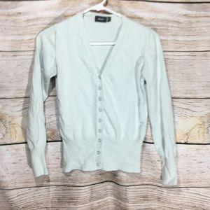MEXX light blue/green button up sweater small